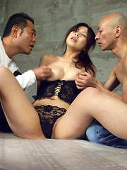 Hairy Japanese girl gets abused by two horny Asian guys