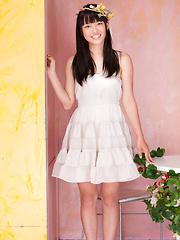 Tomoe Yamanaka Asian in white dress is beautiful like summer days