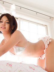 Tsubasa Akimoto Asian is such hot bunny on the house stairs