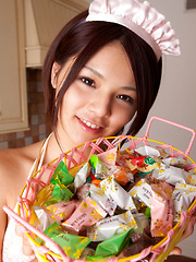 Tsubasa Akimoto Asian in kinky lingerie has candies to offer