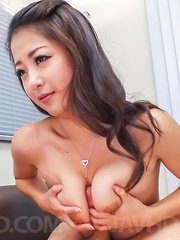 Satomi Suzuki loves to play with boobs on dick till gets cum