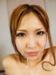 Miku Kohinata has pussy under vibrators and sexy lips under cum