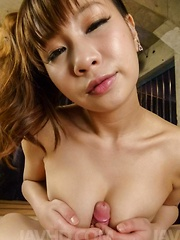Natsuki Shino with big boobs sucks and strokes cock like a pro