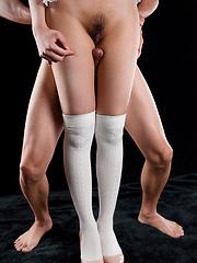 Oshima Karina toying herself through pantyhose