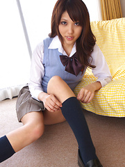 Asami Tsubaki Asian in uniform spreads legs and shows panty
