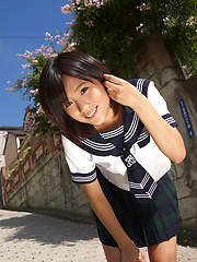 Yuzuki Hashimoto Asian in sailor gal uniform is playful outdoor