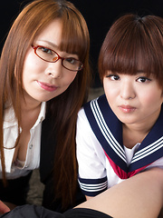 Imai Meril and Kai Miharu handjob