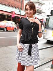 Sexy gal Ryo Akanishi showing off outdoors