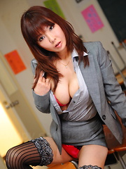Hot Japanese brunette teacher Kyoushi Kan