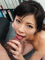 Sara Yurikawa licks and sucks hard penis before is fucked a lot