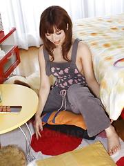 Asian gal Kaori Aikawa shows her hairy pussy