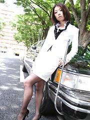 Sexy Japanese darling in stockings Tsubaki