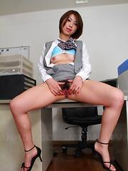 Japanese slut Tsubaki showing her hairy pussy