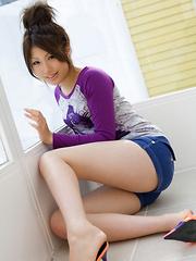 Risa Aika Asian takes shorts off and shows love box in thong