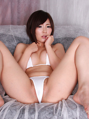 Kaede Oshiro Asian has hairy twat and hot jugs in tiny lingerie