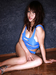 Mai Nishida Asian has big jugs and firm butt in blue lingerie