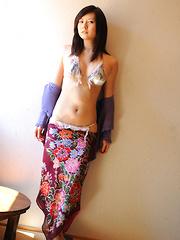 Konomi Yoshikawa Asian smiles being proud of her lustful curves