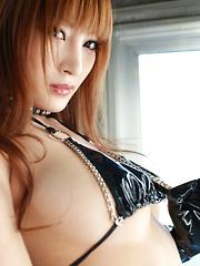 Kirara Asuka Asian in kinky outfit puts vibrator on her big boobs
